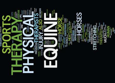 TERAPIA FÍSICA EQUINA Fondo de texto Concepto de nube de palabras