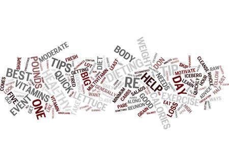 5 つの健康的な体重損失のヒント テキスト背景単語雲概念