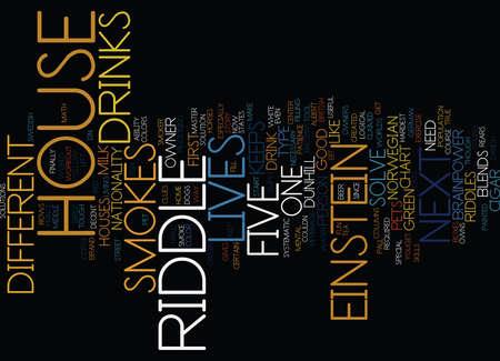 EINSTEIN S RIDDLE CAN YOU SOLVE IT Text Background Word Cloud Concept Illusztráció