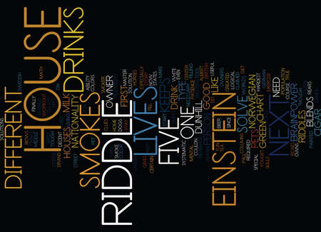 EINSTEIN S RIDDLE CAN YOU SOLVE IT Text Background Word Cloud Concept Illustration