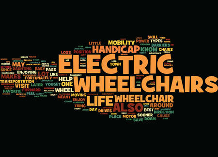 ELECTRIC WHEELCHAIR WHAT ABOUT THEM AND HOW TO CHOOSE ONE Text Background Word Cloud Concept
