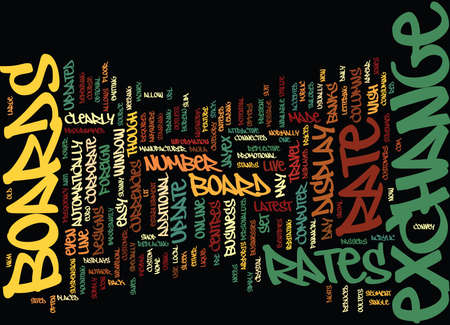 EXCHANGE RATE BOARD Text Background Word Cloud Concept