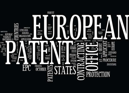 EUROPEAN PATENT OFFICE Text Background Word Cloud Concept Illustration