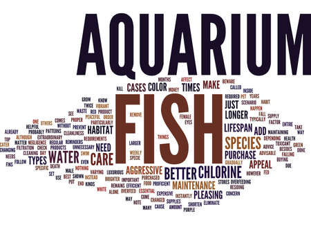 EFFICIENT CARE REQUIREMENTS FOR AQUARIUM FISH Text Background Word Cloud Concept