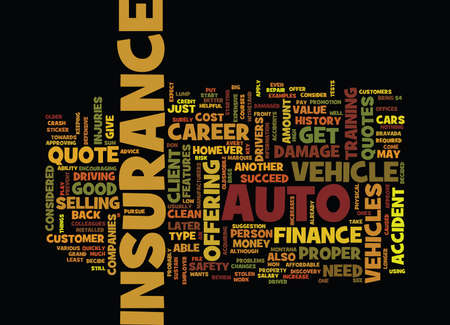 FINANCE CAREER AUTO INSURANCE QUOTE Text Background Word Cloud Concept