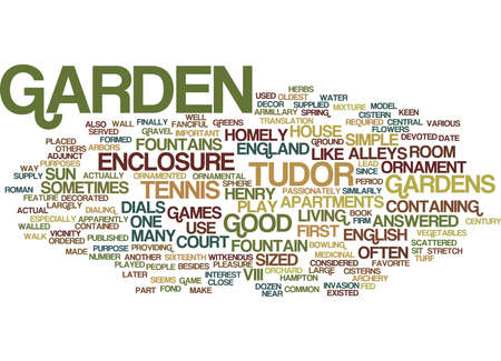 ENGLISH TUDOR GARDENS Text Background Word Cloud Concept