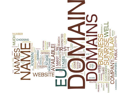 EU DOMAINS Text Background Word Cloud Concept
