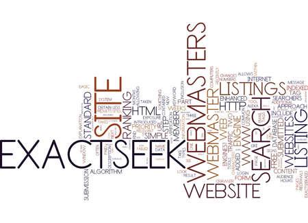 EXACTSEEK EXPLAINED PART Text Background Word Cloud Concept Illusztráció
