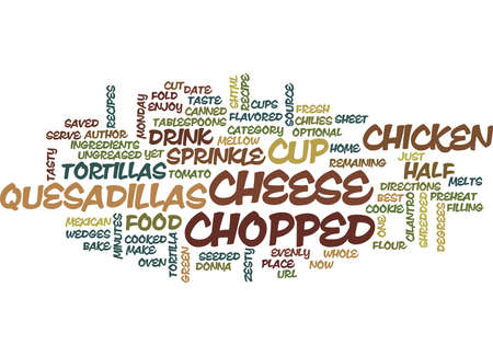 BEST RECIPES CHICKEN QUESADILLAS Text Background Word Cloud Concept Illustration