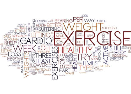 FITNESS AND YOU RE HEALTH Text Background Word Cloud Concept Illustration