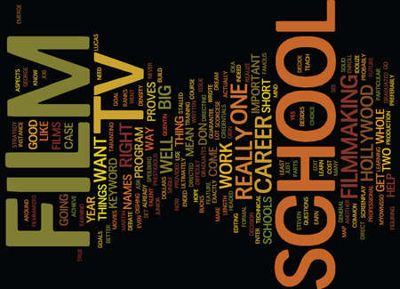 FILM TV SCHOOL Text Background Word Cloud Concept
