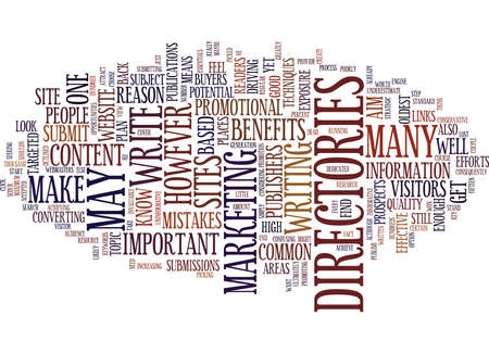 ESSENTIALS BEFORE YOU SUBMIT TO ARTICLE DIRECTORIES Text Background Word Cloud Concept Ilustração