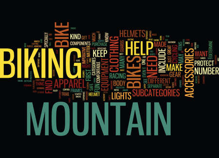 EQUIPMENT FOR MOUNTAIN BIKES Text Background Word Cloud Concept Illustration