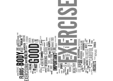 avoiding: EXERCISE CAN YOU EXERCISE TOO MUCH Text Background Word Cloud Concept