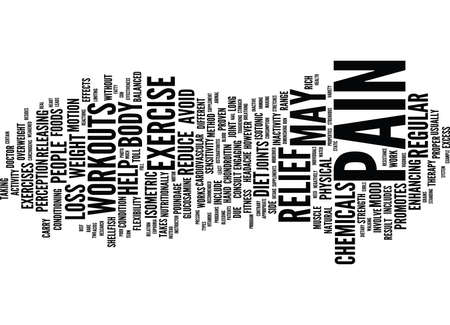 EXERCISE AND DIET AS PAIN RELIEF THERAPY Text Background Word Cloud Concept