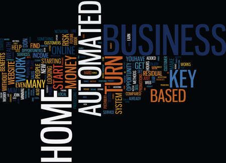 ENJOY WEALTH FROM HOME WITH A TURN KEY AUTOMATED HOME BASED BUSINESS Text Background Word Cloud Concept Ilustrace