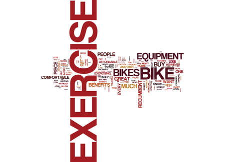 EXERCISE BIKE BENEFITS Text Background Word Cloud Concept