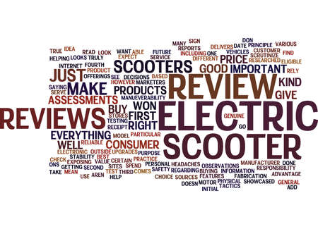 ELECTRIC SCOOTER REVIEW Text Background Word Cloud Concept
