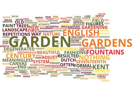 ENGLISH GARDENS OF THE TH CENTURY Text Background Word Cloud Concept Illustration