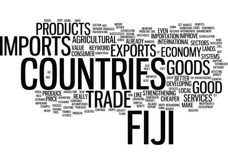 deficits: FIJI IMPORTS Text Background Word Cloud Concept Illustration