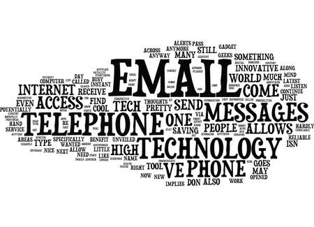 EMAIL TO TELEPHONE INNOVATIVE TOOL OR HIGH TECH HYPE Text Background Word Cloud Concept