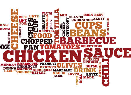 BEST RECIPES BARBECUED CHICKEN NACHOS Text Background Word Cloud Concept