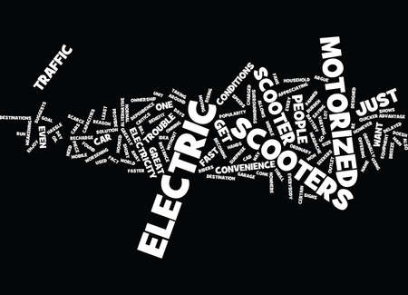 ELECTRIC MOTORIZED SCOOTER Text Background Word Cloud Concept