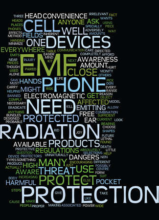EMF DANGERS AND HOW TO PROTECT AGAINST THEM Text Background Word Cloud Concept