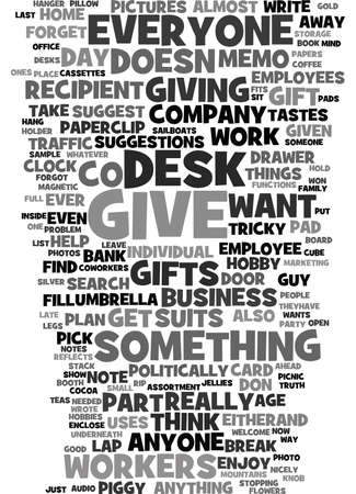 EMPLOYEE AND COWORKERS GIFTS Text Background Word Cloud Concept