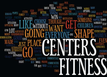 FITNESS CENTERS Text Background Word Cloud Concept Illustration