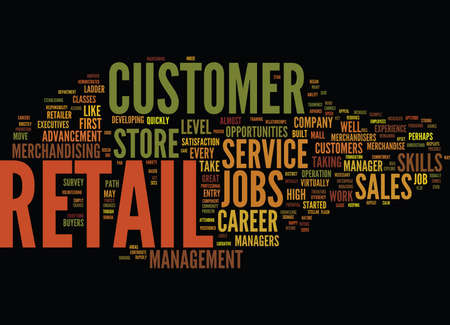 ENTRY LEVEL RETAIL JOBS LEAD TO LUCRATIVE CAREERS Text Background Word Cloud Concept