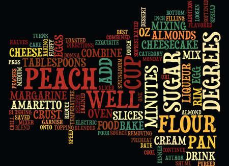 最高レシピ アマレット桃のチーズケーキのテキスト背景単語雲の概念  イラスト・ベクター素材
