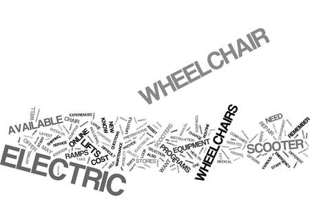 ELECTRIC WHEELCHAIR AND SCOOTER REVIEWS Text Background Word Cloud Concept Illustration