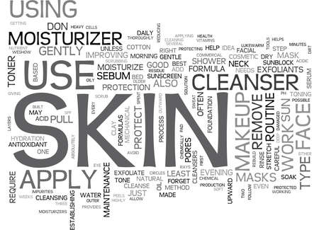 EFFECTIVE TIPS FOR DAILY SKIN CARE Text Background Word Cloud Concept