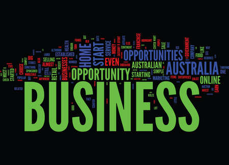 FIND A PROFITABLE AUSTRALIAN BUSINESS OPPORTUNITY Text Background Word Cloud Concept Ilustrace