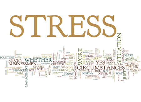 BEST WAYS TO REDUCE STRESS Text Background Word Cloud Concept Ilustração