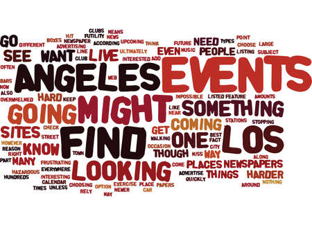 EVENTS IN LOS ANGELES Text Background Word Cloud Concept