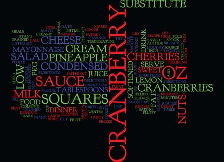 BEST RECIPES CRANBERRY SALAD SQUARES Text Background Word Cloud Concept