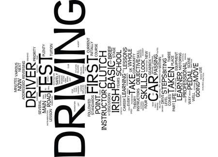 FIRST STEPS FOR THE IRISH LEARNER DRIVER Text Background Word Cloud Concept 向量圖像