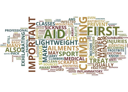FIRST AID FOR CLIMBERS Text Background Word Cloud Concept Фото со стока - 82569951