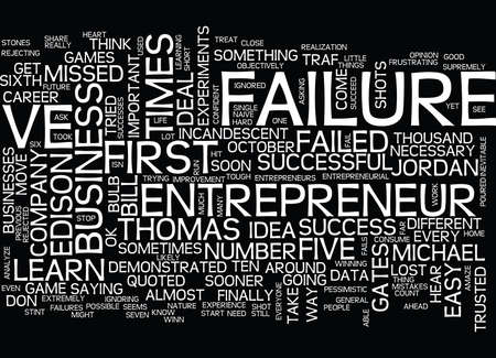 ENTREPRENEURIAL FAILURE GET USED TO IT Text Background Word Cloud Concept