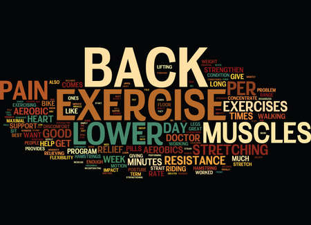 EXERCISE CAN HELP RELIEVE LOWER BACK PAIN Text Background Word Cloud Concept