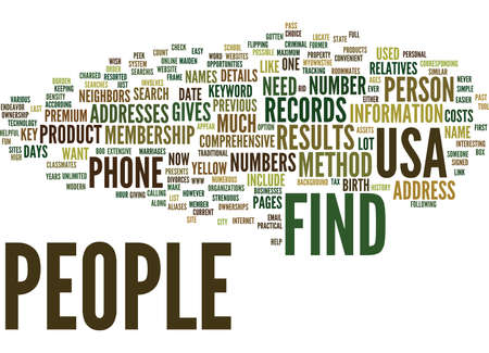 FIND PEOPLE IN USA Text Background Word Cloud Concept