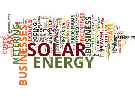 使用太陽光発電本文背景単語雲概念にあなたのビジネスのための金融インセンティブ