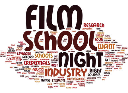 FILM NIGHT SCHOOL Text Background Word Cloud Concept