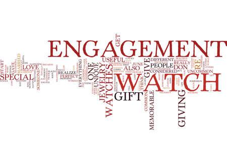 ENGAGEMENT WATCHES UNIQUE OR COMMON Text Background Word Cloud Concept Ilustração
