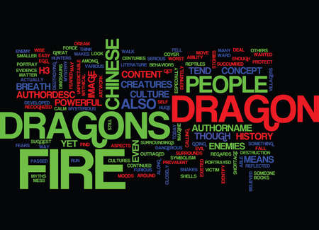 FIRE DRAGONS Text Background Word Cloud Concept