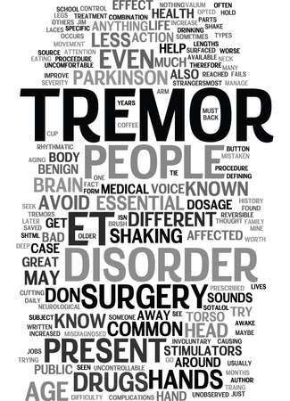 ESSENTIAL TREMORS Text Background Word Cloud Concept Vectores