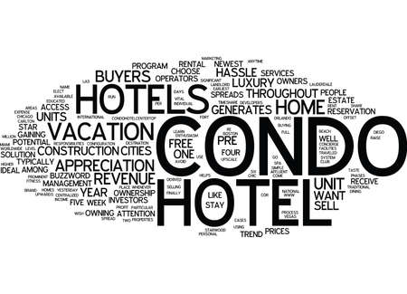ENTHUSIASM SPREADS FOR CONDO HOTELS Text Background Word Cloud Concept