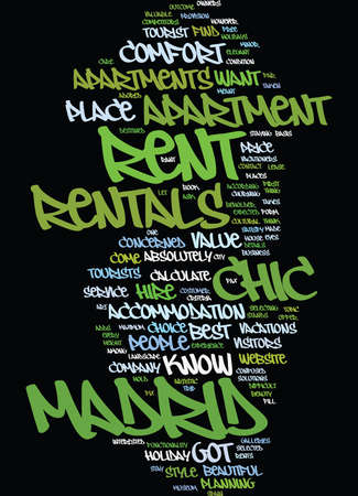 FIND AN APARTMENT ON RENT IN MADRID Text Background Word Cloud Concept